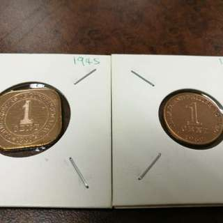 ONE CENT COIN YEAR 1945 & 1962
