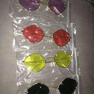 Geometric diamond tinted retro vintage 70s sunglasses wire frames