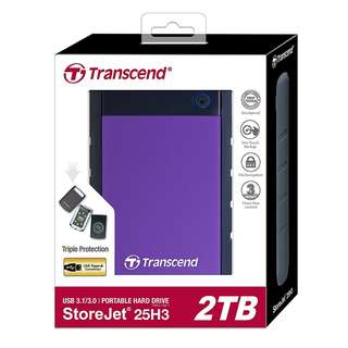 BNIB - Transcend StoreJet 25H3 USB3.0 Portable Hard Drive 2TB Purple