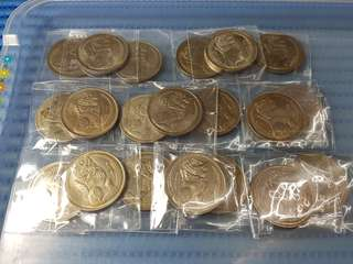 20X 1971 Singapore $1 Stylised Lion Coin ( Lot of 20 Pieces )