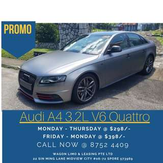 Audi A4 3.2L V6 Quattro S-Line S-Tronic For Rent