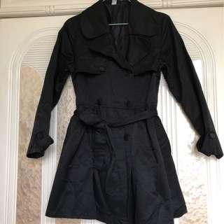 女裝黑色中長款雙排扣收腰乾濕風褸