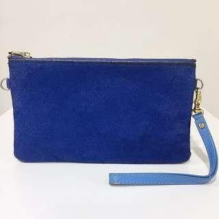 Royal Blue Fur Leather Pouch Wallet
