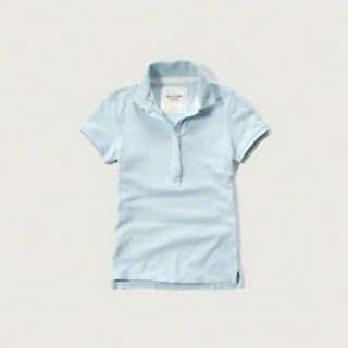 Abercrombie & Fitch Womens Polo LIGHT BLUE - Size: M