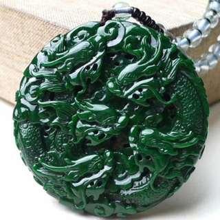 缅甸天然翡翠A货 满绿九龙至尊