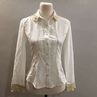 Korea Lace trim long sleeve top