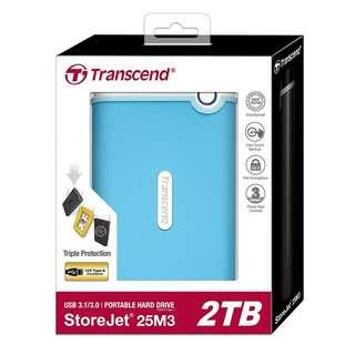 BNIB - Transcend StoreJet 25M3 2TB USB 3.0 Portable Hard Drive (Sky Blue)