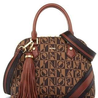 Tas bonia brown monogram satchels s