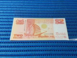 AZ 111779 Singapore Ship Series $2 Note AZ 111779 Nice Number Dollar Banknote Currency HTT