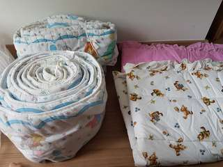 Baby cot side cushion and blanket