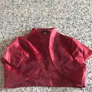 Red crop cardigan