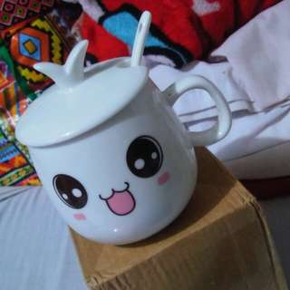 CUTE CUP with SPOON & LID