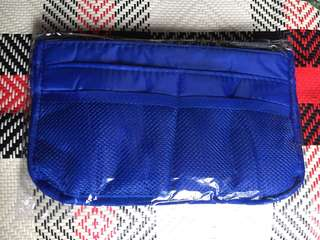 Blue nylon bag organiser