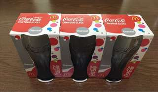 McDonald's Set of 3 Coca Cola Glass Charcoal *NEW