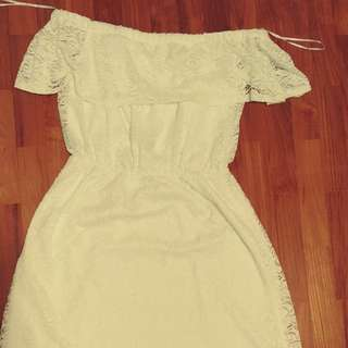 Temt off shoulder white lace dress
