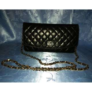 Missy's Black Quilted Leather Sling Bag