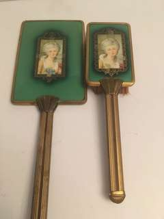 Antique mirror & brush set
