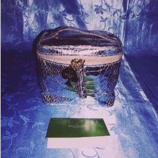 Missy's KATE SPADE Silver Snakeskin Design Cosmetic Bag