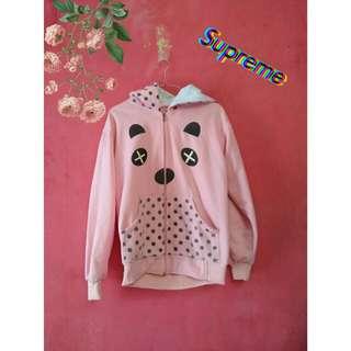 Jaket panda pink