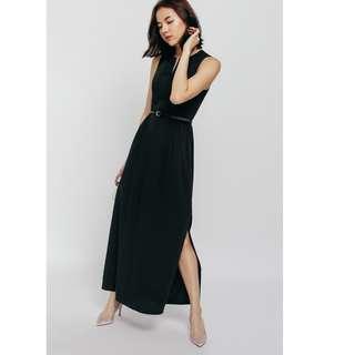 Love Bonito - Felgiy Ruched Keyhole Maxi Dress (black)