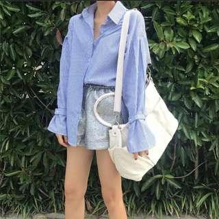 藍條紋綁帶襯衫