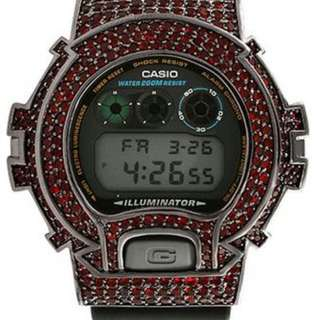 RED ON BLACK CUSTOM ICED OUT G SHOCK
