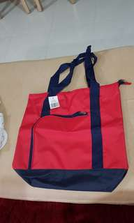 - Red tote bag with dark blue base (brand new with tag)