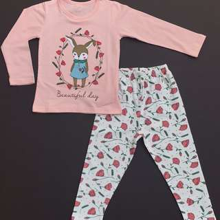 Sweet Rabbit Rose Pajamas - Instock - 2 for $20