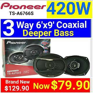"Brand New]  Pioneer 6"" x 9"" 420 Watts 3 Way Speaker Model: TS-A6966S  (Brand new in box & sealed) . Usual Price:$ 129.90  Special Price:$ 79.90  Whatsapp 85992490 to collect today."