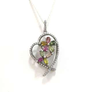 Genuine high grade love shape tourmaline silver pendant