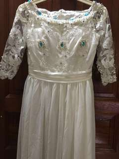Long White Dress with Lace Embroidery Details