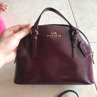 Coach Mini shell tote bag (red wine)