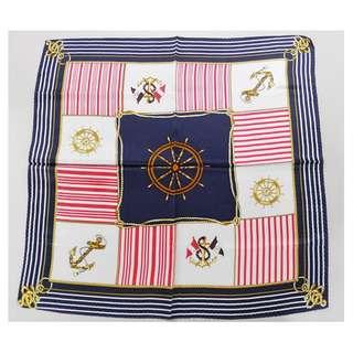 海軍圖案方形絲巾