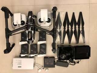 DJI Inspire 1 Pro (2.0), X5雲台及DJI 15mm 鏡頭,5電(3大2小)雙控,雙义電機,非誠勿擾
