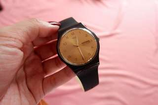 Swatch Black Rubber with Gold Face
