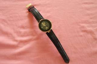 Anne Klein Leather and Gold Watch