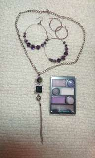 Necklaces and Earrings bundle with free eyeshadow. Free Shipping within Metro Manila
