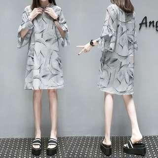 (XL~5XL) European Station A-line dress loose chiffon skirt half high collar long dress