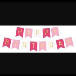Happy Birthday Bunting (Hot Pink, Light Pink & White)