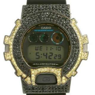 ICED OUT BLACK AND YELLOW CASIO G SHOCK
