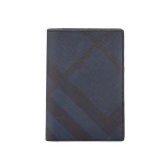 Burberry Kirtley London Check Passport Case, Navy/Black