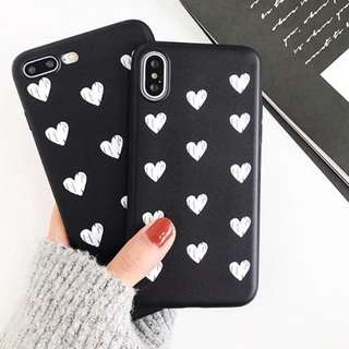 black hard case white hearts tumblr cover | PO