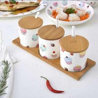 (PO) Ceramic 1Set 3pcs Spices Jar/Canister