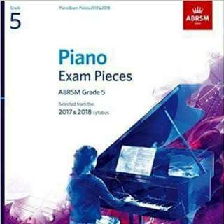 100% new 全新五級鋼琴考試書 Grade 5 Piano Exam Pieces 2017 & 2018, ABRSM 出版,可用到2019