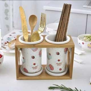 (PO) Ceramic Chopsticks/Cutlery Holder