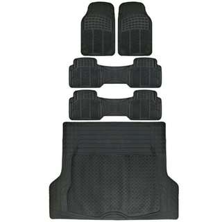 Van SUV Floor Mats All Weather 5 Piece Rubber Mat 3 Row & Trunk Mat Black !