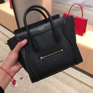Celine nano luggage black with sliver