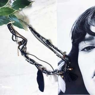 Brand new boho multi drop gem feathers tassel necklace