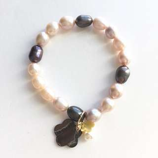 🆕カルチャーパール Cultured Pearls with Mixed Pinkish & Purple Hue & Charm Bracelet