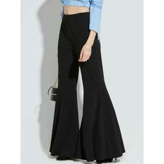 Bell-bottoms Pleated Pants